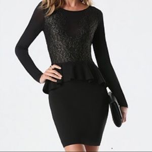 Black/Gold Mesh Peplum Dress